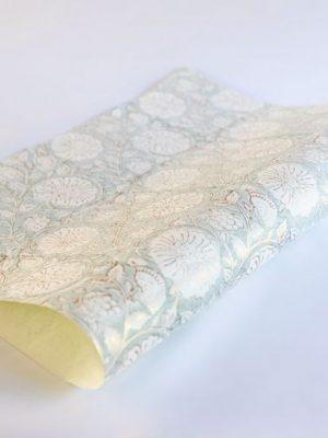 Paper Mirchi Mughal Garden Smoky Quartz Hand Block Printed Gift Wrap