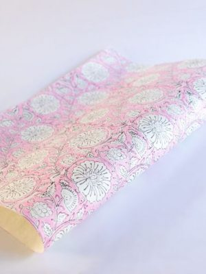 Paper Mirchi Mughal Garden Soft Rose Hand Block Printed Gift Wrap