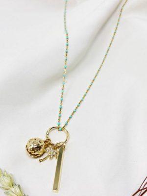 Ashiana Summer Palm Long Necklace Aqua