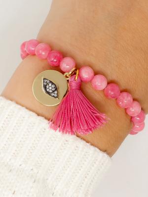 Ashiana Magic Eye Coin Bracelet Pink