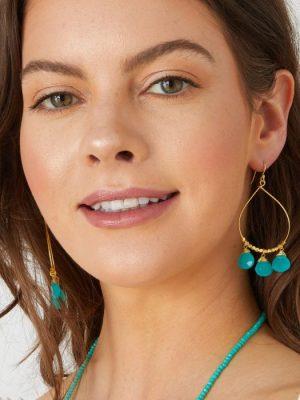Ashiana Bella Earrings Aqua Chalcedony
