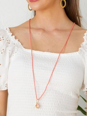 Ashiana Summer Cocktail Necklace Coral