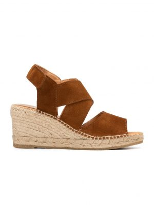 Kanna Ania Cross Front Wedge Suede Sandals Tan