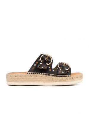 Kanna Flat Jute Studded Leather Sandal Black