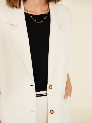 Yerse Loose Plush Textured Blazer Natural