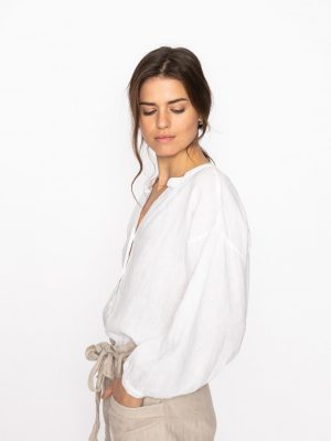 Jeff Lou Linen Blouse White