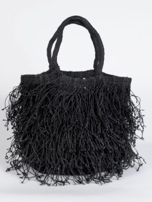Jute Macrame fringe bag black