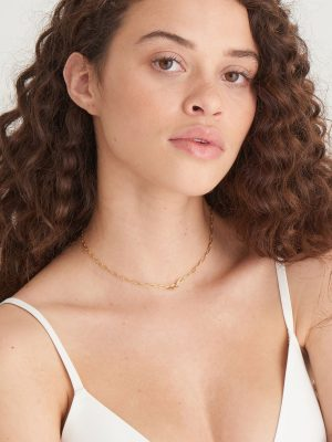 Ania Haie Gold Knot T-Bar Chain Necklace