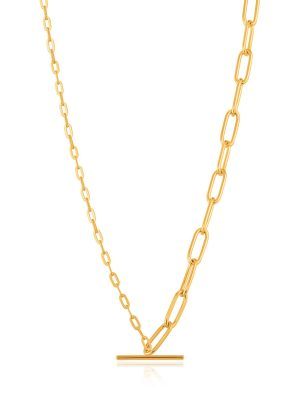 Ania Haie Gold Mixed Link T-bar Necklace 1