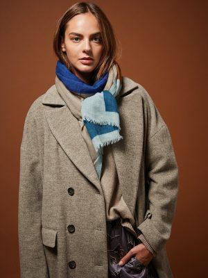 Hartford Abstract Wool Scarf Aqua Blue