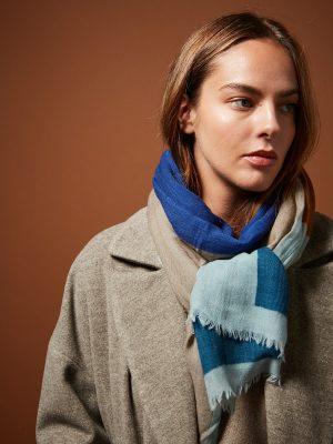 Hartford Aqua Abstract wool Scarf 1