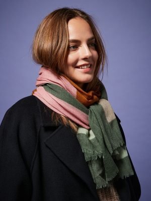 Hartford Army Green Abstract Wool Scarf 1