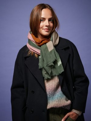 Hartford Abstract Wool Scarf Army Green