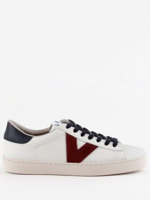 Victoria Berlin Contrast Leather Trainers Navy