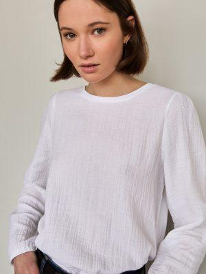 Yerse Seersucker Long Sleeve Blouse Optical White