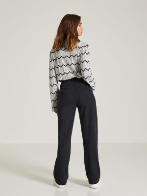 Yerse Knitted Wide Trousers Anthracite