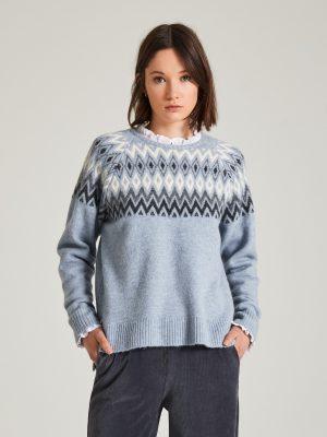 Yerse Nordic Jacquard Sweater Blue