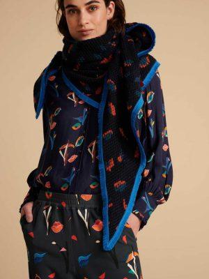Pom Amsterdam Scarf Leopard Moody Blue