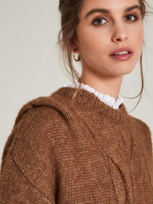 Yerse Cable Shoulder Detail Sweater Whisky